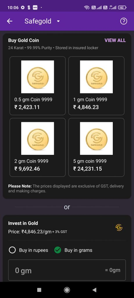 PhonePe gold purchase