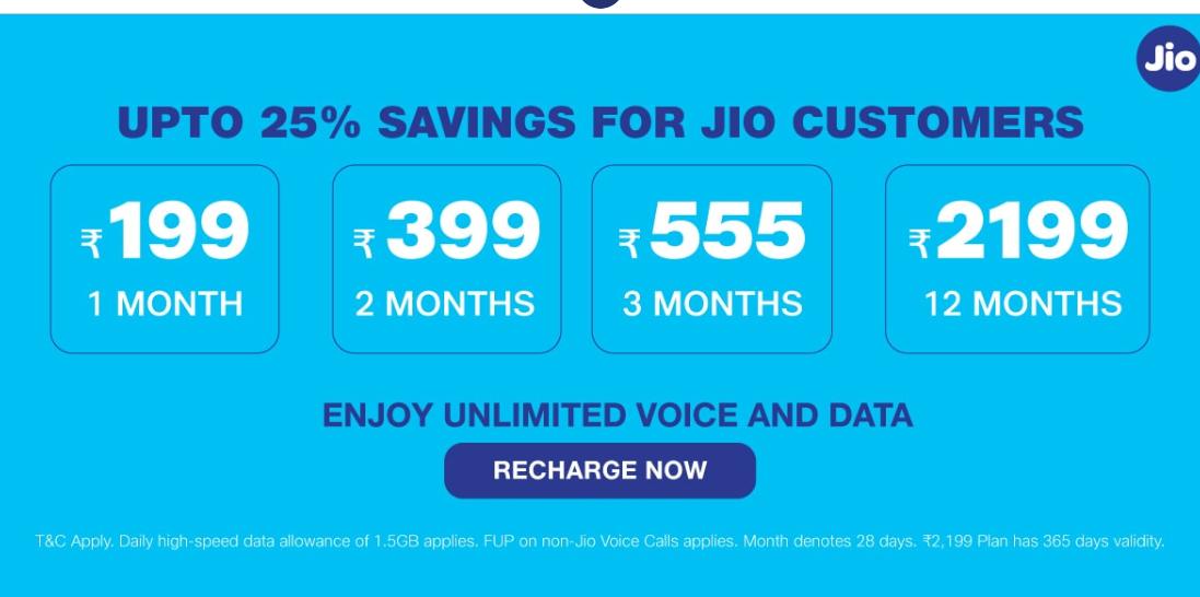 Jio Prepaid Plans For Daily Data